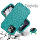 For iPhone 12 / 12 Pro Wave Pattern 3 in 1 Silicone+PC Shockproof Protective Case(Dark Sea Green) - 2