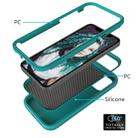 For iPhone 12 / 12 Pro Wave Pattern 3 in 1 Silicone+PC Shockproof Protective Case(Dark Sea Green) - 3