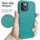 For iPhone 12 / 12 Pro Wave Pattern 3 in 1 Silicone+PC Shockproof Protective Case(Dark Sea Green) - 5