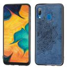For Galaxy A30 & A20 Embossed Mandala Pattern PC + TPU + Fabric Phone Case with Lanyard & Magnetic(Blue) - 1