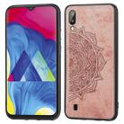 For Galaxy M10 Embossed Mandala Pattern PC + TPU + Fabric Phone Case with Lanyard & Magnetic(Rose Gold) - 1