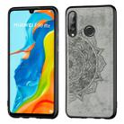 For Huawei P30 Lite & Nova 4E Embossed Mandala Pattern PC + TPU + Fabric Phone Case with Lanyard & Magnetic(Gray) - 1