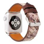 For Apple Watch Series 3 & 2 & 1 38mm Retro Flower Series Brown Music Score Pattern Wrist Watch Genuine Leather Band