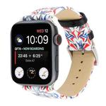Thorns Printing Genuine Leather Watch Strap for Apple Watch Series 5 & 4 40mm / 3 & 2 & 1 38mm(Blue + Red)
