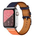 Two Color Single Loop Leather Wrist Strap Watchband for Apple Watch Series 3 & 2 & 1 42mm, Color:Orange+Bright Blue