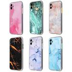 Coloured Glaze Marble TPU + PC Protective Case For iPhone 11 Pro Max(Pink)