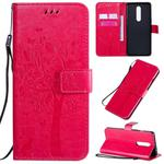 For OnePlus 8 Tree & Cat Pattern Pressed Printing Horizontal Flip PU Leather Case with Holder & Card Slots & Wallet & Lanyard(Rose Red)