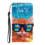 For One Plus 8 Pro Colored Drawing Horizontal Flip Leather Case with Holder & Card Slot & Wallet(Underwater Cat)
