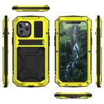 R-JUST Shockproof Waterproof Dust-proof Metal + Silicone Protective Case with Holder For iPhone 12 / 12 Pro(Yellow)