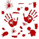 10 PCS Halloween Decorations PVC Creative Blood Handprints and Footprints Wall Stickers Window Stickers, Random Style Delivery