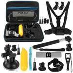 PULUZ 20 in 1 Accessories Combo Kits with EVA Case (Chest Strap + Head Strap + Suction Cup Mount + 3-Way Pivot Arm + J-Hook Buckles + Extendable Monopod + Tripod Adapter + Bobber Hand Grip + Storage Bag + Wrench) for GoPro HERO9 Black / HERO8 Black / HERO7 /6 /5 /5 Session /4 Session /4 /3+ /3 /2 /1, DJI Osmo Action and Other Action Cameras