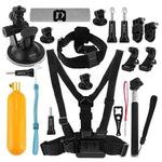 PULUZ 20 in 1 Accessories Combo Kits (Chest Strap + Head Strap + Suction Cup Mount + 3-Way Pivot Arm + J-Hook Buckles + Extendable Monopod + Tripod Adapter + Bobber Hand Grip + Storage Bag + Wrench) for GoPro HERO9 Black / HERO8 Black / HERO7 /6 /5 /5 Session /4 Session /4 /3+ /3 /2 /1, DJI Osmo Action and Other Action Cameras