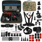 PULUZ 45 in 1 Accessories Ultimate Combo Kits with Camouflage EVA Case (Chest Strap + Suction Cup Mount + 3-Way Pivot Arms + J-Hook Buckle + Wrist Strap + Helmet Strap + Surface Mounts + Tripod Adapter + Storage Bag + Handlebar Mount + Wrench) for GoPro HERO9 Black / HERO8 Black / HERO7 /6 /5 /5 Session /4 Session /4 /3+ /3 /2 /1, DJI Osmo Action and Other Action Cameras