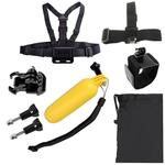 YKD-125 7 in 1 Chest Belt + Wrist Belt + Head Strap + Floating Bobber Monopod + Buckle Basic Mount + Screws + Carry Bag Set for GoPro HERO7 /6 /5 /5 Session /4 Session /4 /3+ /3 /2 /1, Xiaoyi and Other Action Cameras