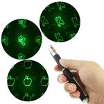 4mw 532nm Green Beam Laser Stage Pen, Snowflake / Heart / Butterfly / 2-hearts etc. 6 Patterns(Black)