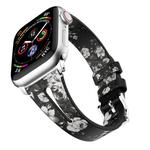 Water Drop-shaped Leather Wrist Strap Watch Band for Apple Watch Series 4 & 3 & 2 & 1 42mm(Black&Gray)