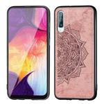 For Galaxy A70 Embossed Mandala Pattern PC + TPU + Fabric Phone Case with Lanyard & Magnetic(Rose Gold)
