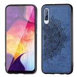 For Galaxy A50 Embossed Mandala Pattern PC + TPU + Fabric Phone Case with Lanyard & Magnetic(Blue)