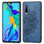 For Huawei P30 Embossed Mandala Pattern PC + TPU + Fabric Phone Case with Lanyard & Magnetic(Blue)