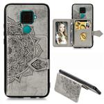 For Huawei Mate 30 Lite/Nova 5i Pro Mandala Embossed Magnetic Cloth PU + TPU + PC Case with Holder & Card Slots & Wallet & Photo Frame & Strap(Gray)
