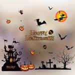 5 PCS Halloween Decoration Products Window Stickers Shopping Malls Hotel Halloween Color Electrostatic Stickers, Random Style Delivery