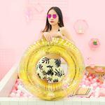All-transparent Sequined Swimming Ring,Diameter: 80cm (Gold)