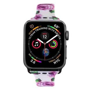 Silicone Printing Strap for Apple Watch Series 5 & 4 40mm (Purple Flower Pattern)
