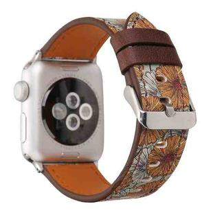 For Apple Watch Series 3 & 2 & 1 42mm Retro Flower Series Chrysanthemum Pattern Wrist Watch Genuine Leather Band