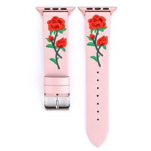 Embroidered Genuine Leather Wrist Watch Band with Stainless Steel Buckle for Apple Watch Series 3 & 2 & 1 38mm (Pink)