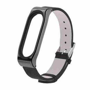 Mijobs PU Leather Strap for Xiaomi Mi Band3 & 4 & 5 & 6 Wrist Straps Screwless Magnetic Bracelet Mi Band3 Smart Band Replace Accessories, Host not Included