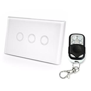 120mm 3 Gang Tempered Glass Panel Wall Switch Smart Home Light Touch Switch with RF433 Remote Controller, AC 110V-240V(White)