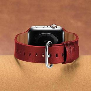 Replacement Genuine Leather Watchbands For Apple Watch Series 6 & SE & 5 & 4 44mm / 3 & 2 & 1 42mm(Red)