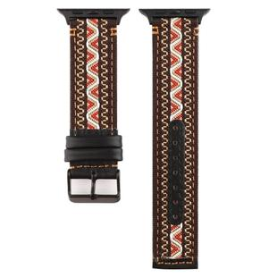 For Apple Watch Series 6 & SE & 5 & 4 44mm / 3 & 2 & 1 42mm Ethnic Style Genuine Leather Strap(Bohemia)