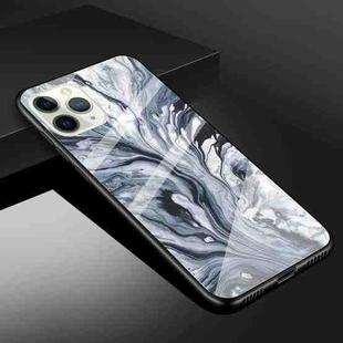 Fashion Marble Tempered Glass Protective Case For iPhone 12 / 12 Pro(Ink Black)
