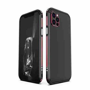 Blade Series Lens Protector + Metal Frame Protective Case For iPhone 12 Pro(Black Red)