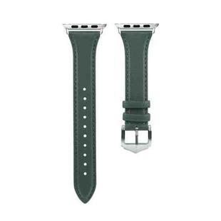 Genuine Leather Watchband For Apple Watch Series 6 & SE & 5 & 4 44mm / 3 & 2 & 1 42mm(Green)
