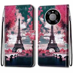 For Huawei Mate 40 Pro Coloured Drawing Cross Texture Horizontal Flip PU Leather Case with Holder & Card Slots & Wallet & Lanyard(Pink Flower Tower Bridge)