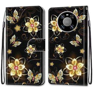 For Huawei Mate 40 Pro Coloured Drawing Cross Texture Horizontal Flip PU Leather Case with Holder & Card Slots & Wallet & Lanyard(Gold Diamond Butterfly)
