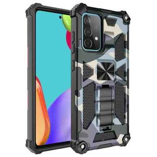 For Samsung Galaxy A52 4G / 5G Camouflage Armor Shockproof TPU + PC Magnetic Protective Case with Holder(Baby Blue)