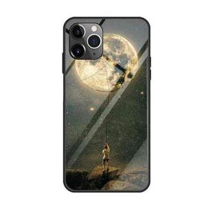 For iPhone 11 Pro Max Colorful Painted Glass Case(Moon)