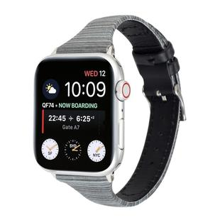 For Apple Watch Series 6 & SE & 5 & 4 40mm / 3 & 2 & 1 38mm Stitching Stripes Genuine Leather Strap  Watchband(Black)