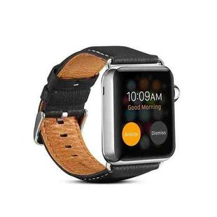 For Apple Watch Series 6 & SE & 5 & 4 44mm / 3 & 2 & 1 42mm Environmental Protection Genuine Leather Strap Watchband(Black)