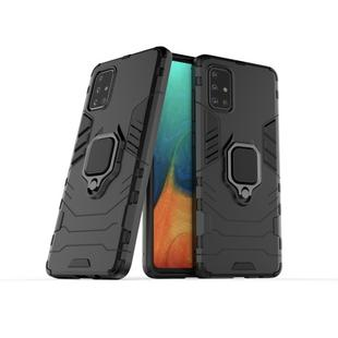 For Galaxy A71 Shockproof PC + TPU Protective Case with Magnetic Ring Holder(Black)