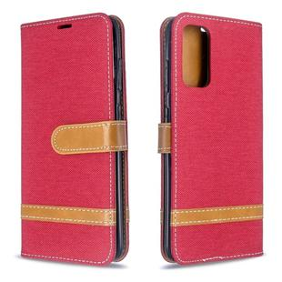 For Galaxy S20 Color Matching Denim Texture Horizontal Flip PU Leather Case with Holder & Card Slots & Wallet & Lanyard(Red)
