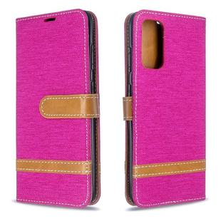 For Galaxy S20 Color Matching Denim Texture Horizontal Flip PU Leather Case with Holder & Card Slots & Wallet & Lanyard(Rose Red)
