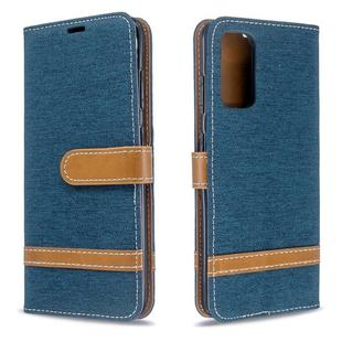 For Galaxy S20 Color Matching Denim Texture Horizontal Flip PU Leather Case with Holder & Card Slots & Wallet & Lanyard(Dark Blue)