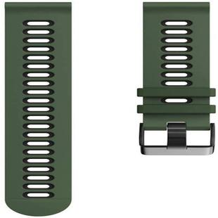 For Garmin Forerunner 245 Two-tone Silicone Strap(Army Green + Black)