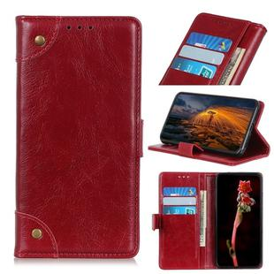 For OnePlus 8 Copper Buckle Nappa Texture Horizontal Flip Leather Case with Holder & Card Slots & Wallet(Wine Red)