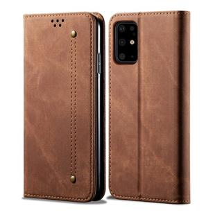 For Galaxy S20 Denim Texture Casual Style Horizontal Flip Leather Case with Holder & Card Slots & Wallet(Brown)