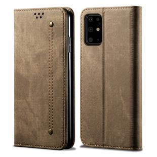 For Galaxy S20 Denim Texture Casual Style Horizontal Flip Leather Case with Holder & Card Slots & Wallet(Khaki)
